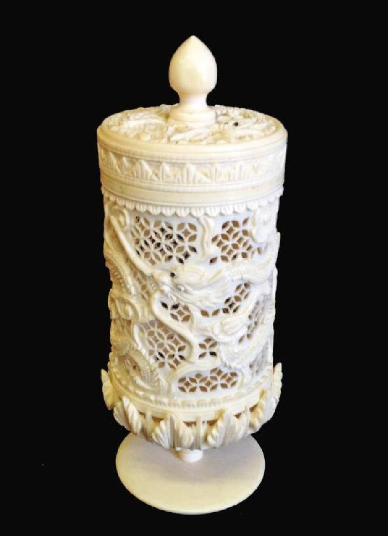 19thc Chinese Pierced Dragon Box