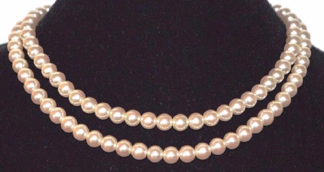 Necklace Pearl White Beige Cream Multi 2 Strand Silver