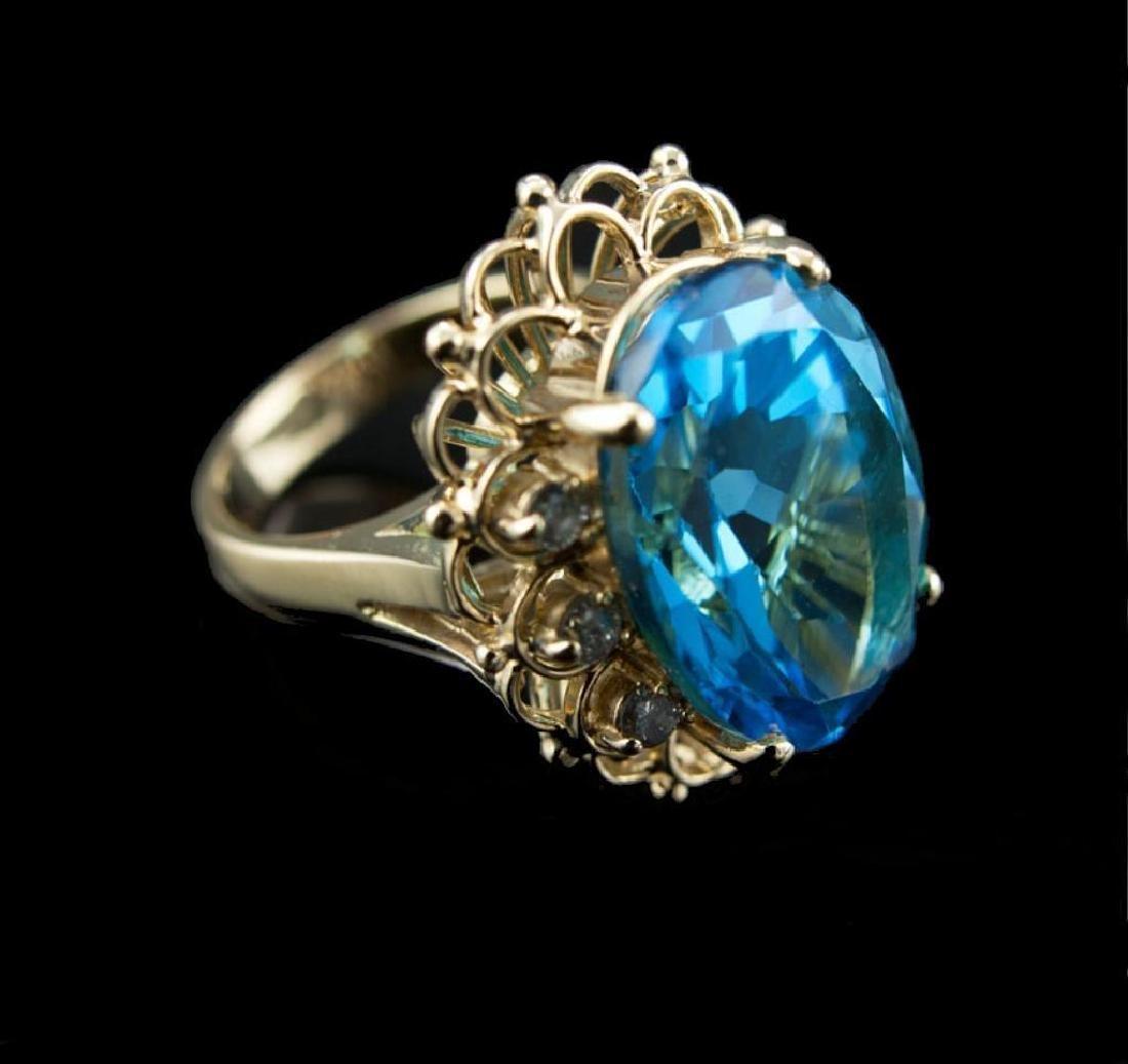 Blue Topaz & Diamond 14kt Gold Cocktail Ring