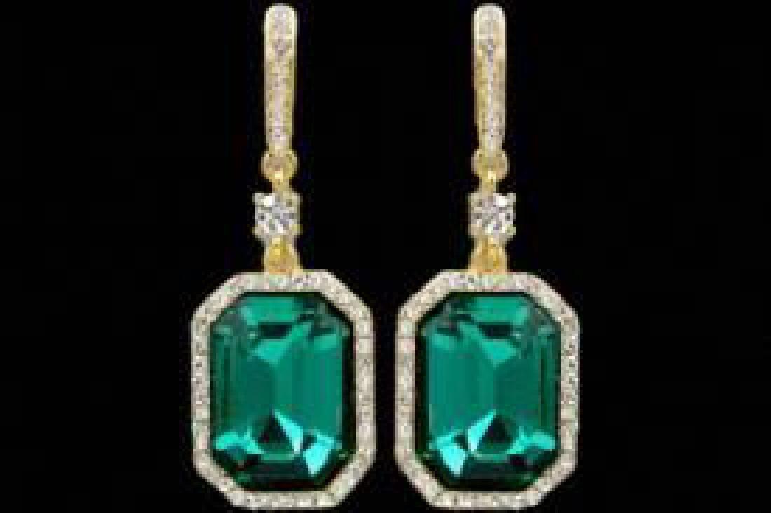 18K Gold Plated Emerald Green Crystal Rhinestone