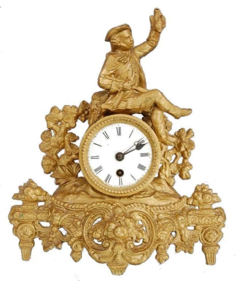 19thc Gold Gilt French Hunting Scene Mantel Clock