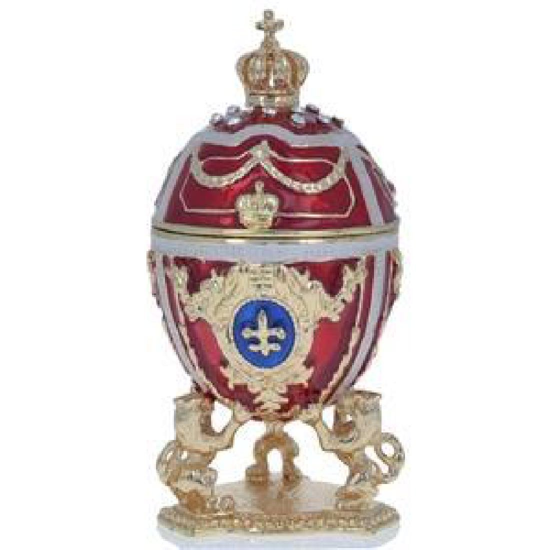 """2.75"""" Lions Holding Royal Crown Faberge Inspired Egg"""