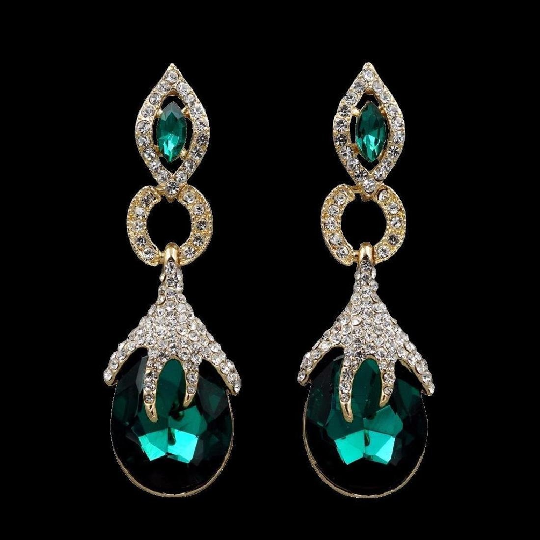 18k Gold Plated Gp Emerald Green Crystal Rhinestone