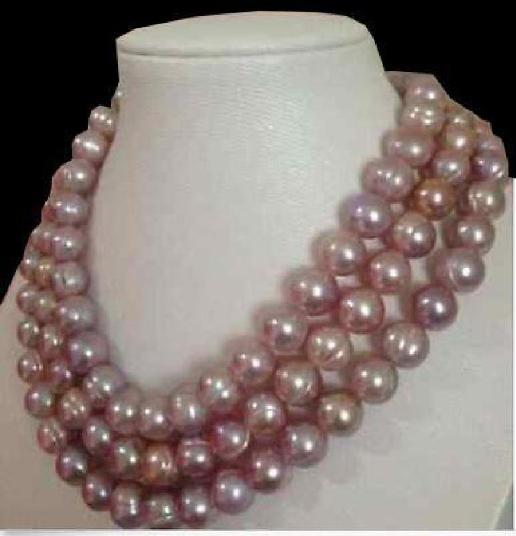 7-8mm South Sea Pink Lavender Baroque Pearl Necklace 48