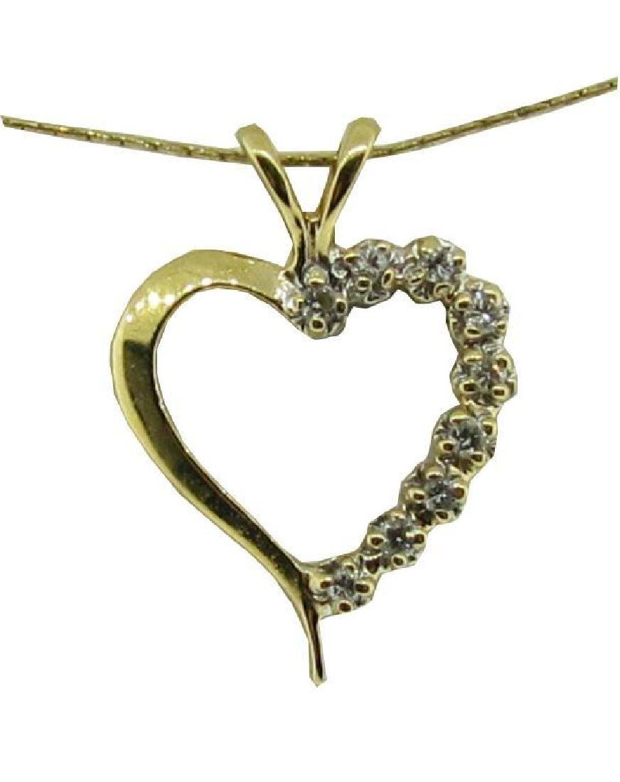 14kt Gold & Diamond Heart Pendant