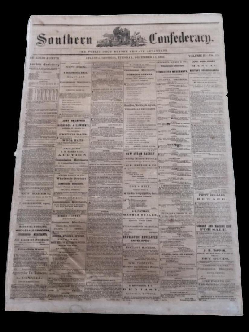 RARE! Southern Confederacy, Atlanta 1862 Newspaper