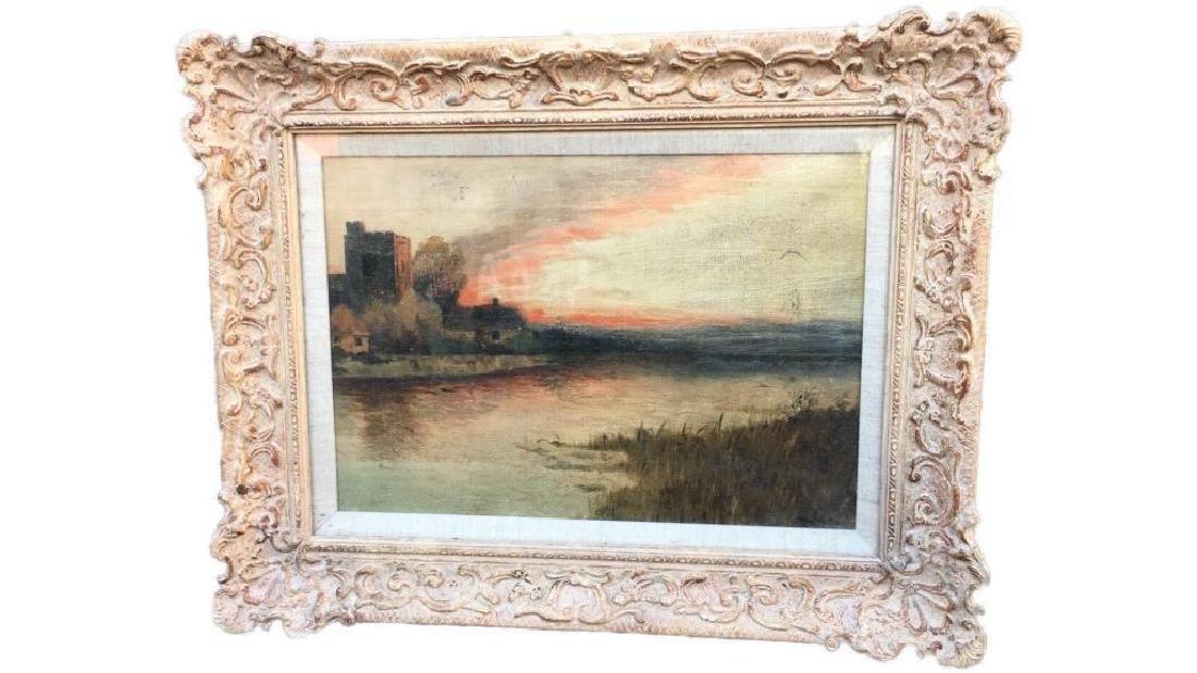 Antique Large Oil On Canvas In Gold Gilt Frame, Signed