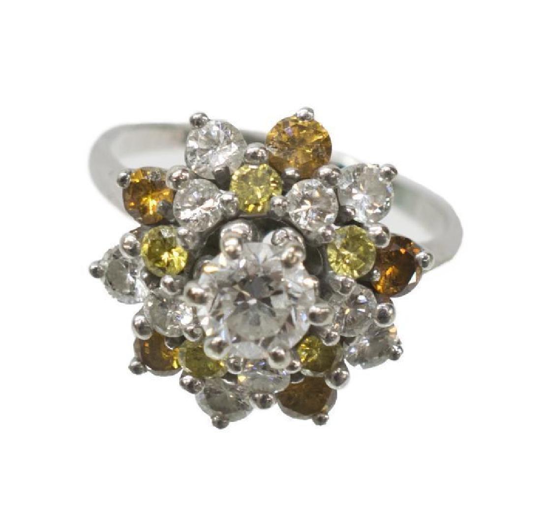 Ladies 14kt Wg & Diamond Estate Cocktail Ring