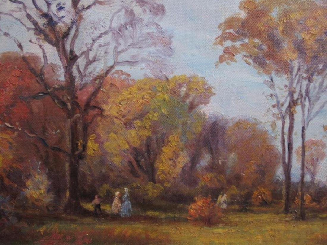 "Antique Original Oil Painting On Canvas ""autumn"" Signed - 11"