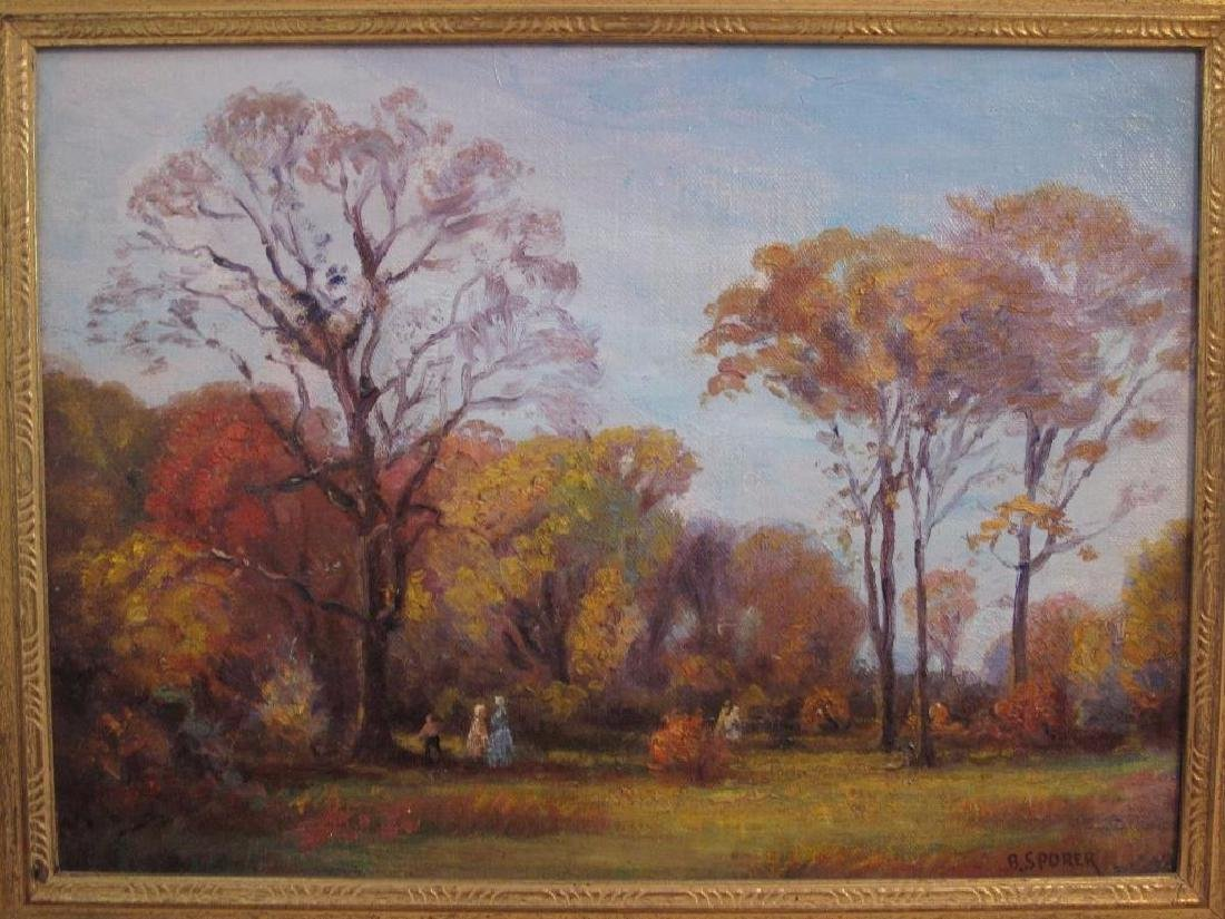 "Antique Original Oil Painting On Canvas ""autumn"" Signed - 2"