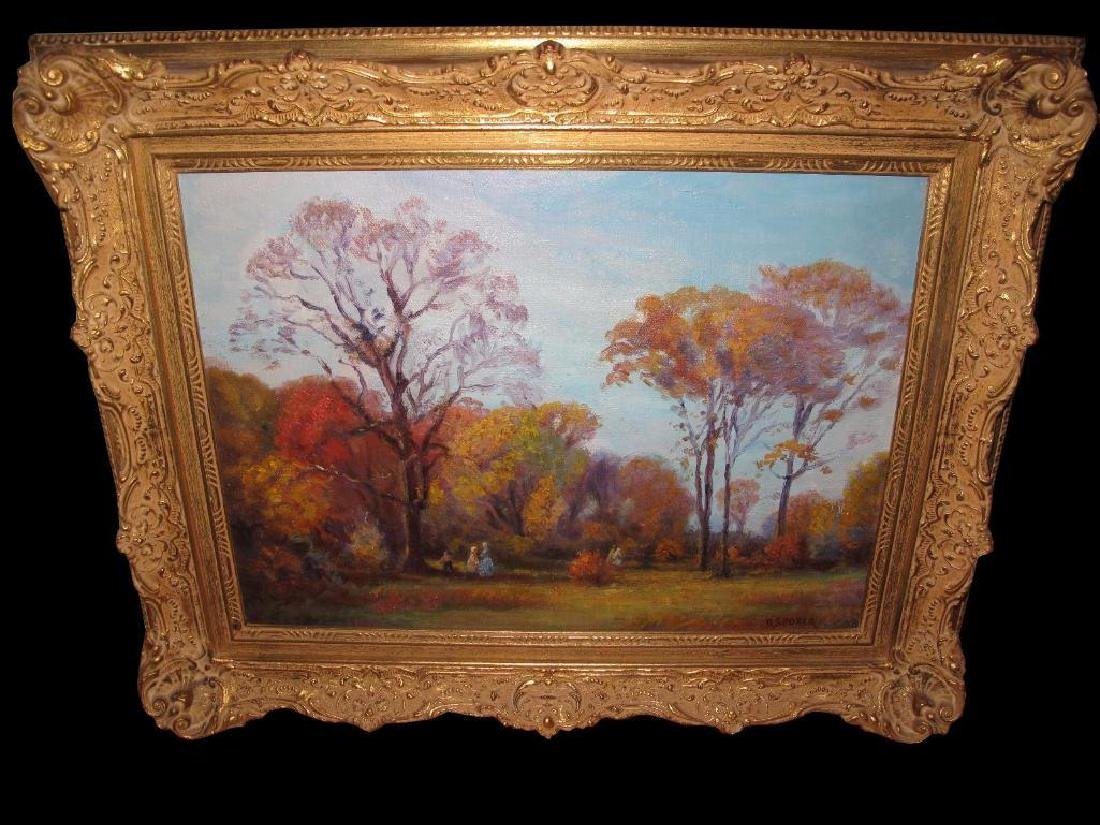 "Antique Original Oil Painting On Canvas ""autumn"" Signed - 3"