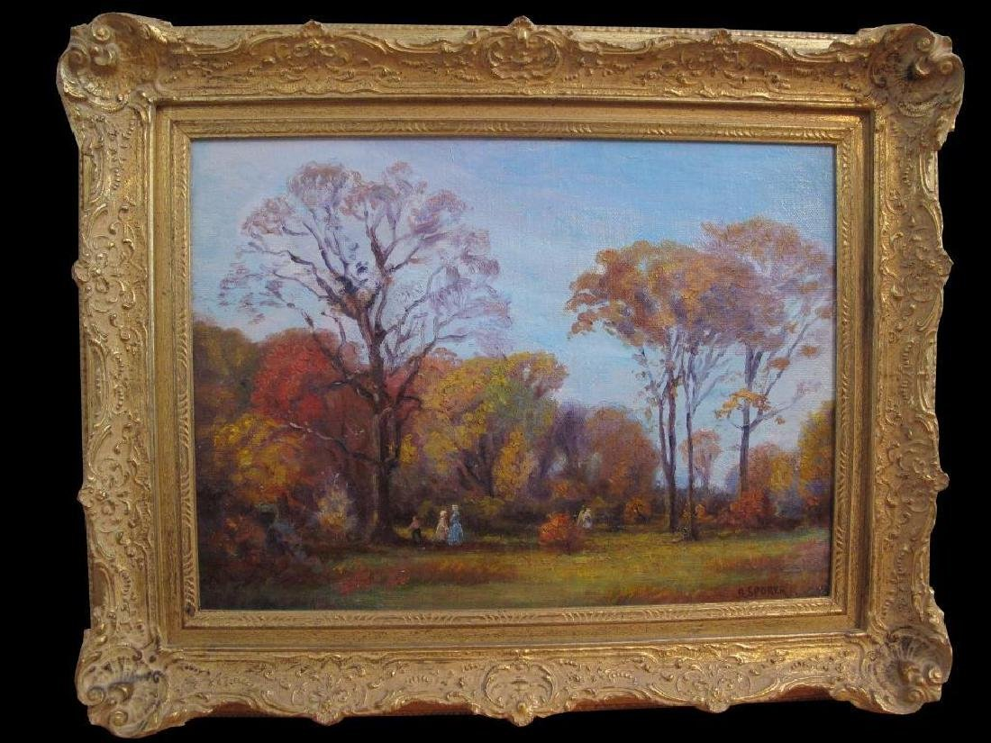 "Antique Original Oil Painting On Canvas ""autumn"" Signed - 4"