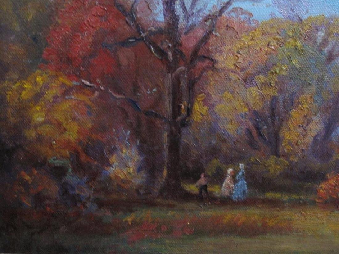 "Antique Original Oil Painting On Canvas ""autumn"" Signed - 6"