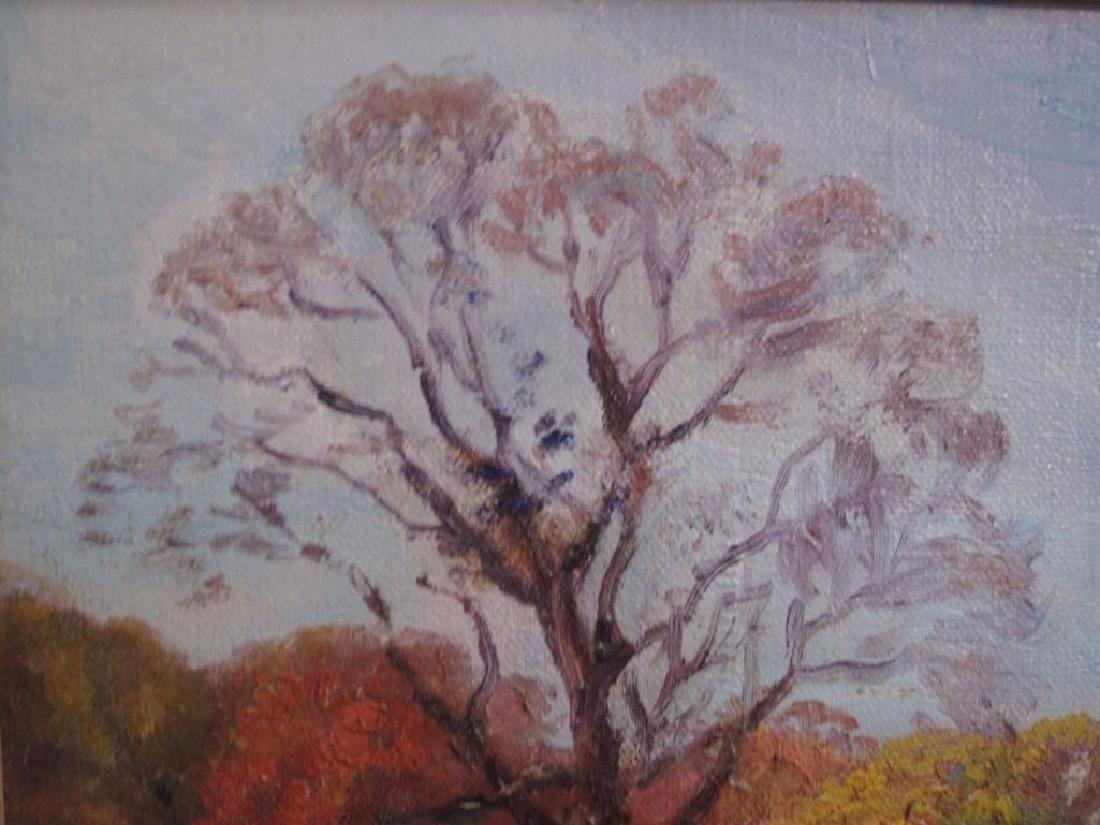 "Antique Original Oil Painting On Canvas ""autumn"" Signed - 7"