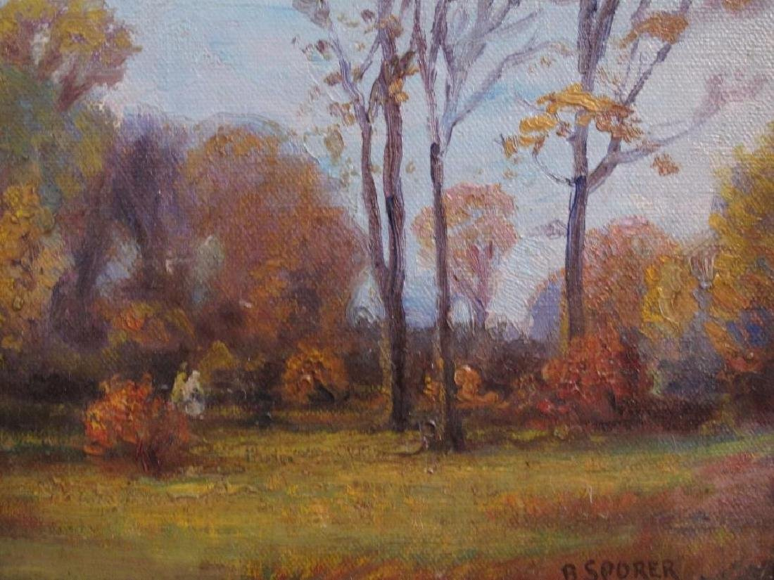 "Antique Original Oil Painting On Canvas ""autumn"" Signed - 9"