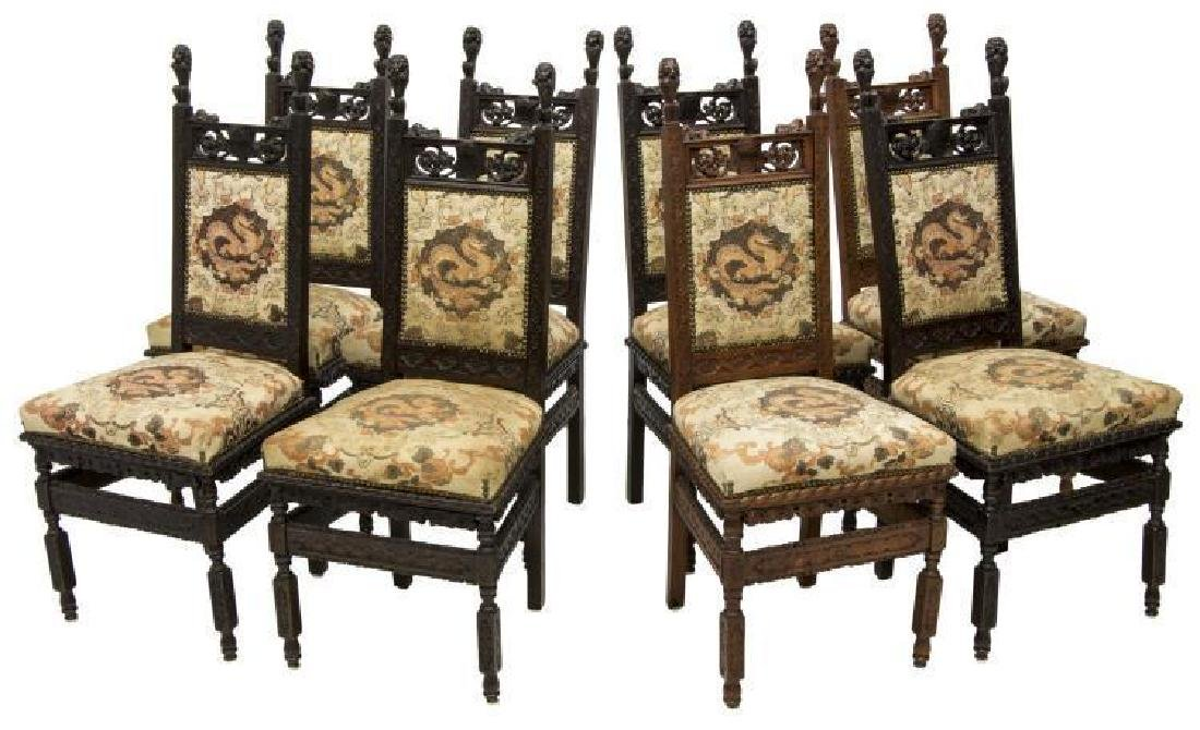 (8) Continental Gothic Revival Carved Side Chairs