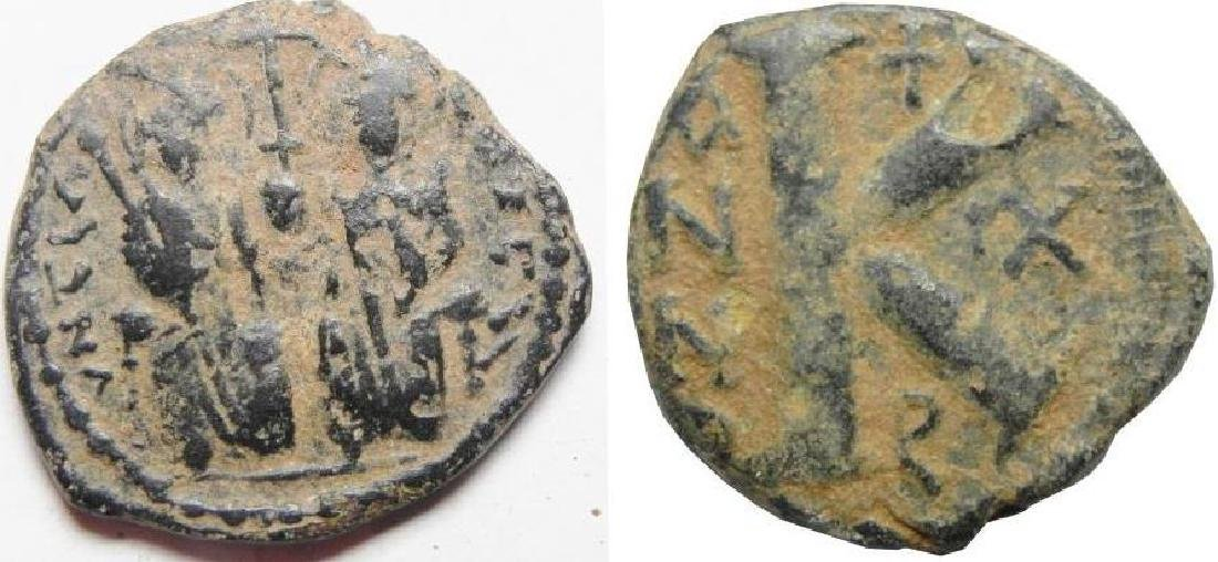 ZURQIEH -aa1217- BYANTINE. JUSTIN II & SOPHIA AE HALF