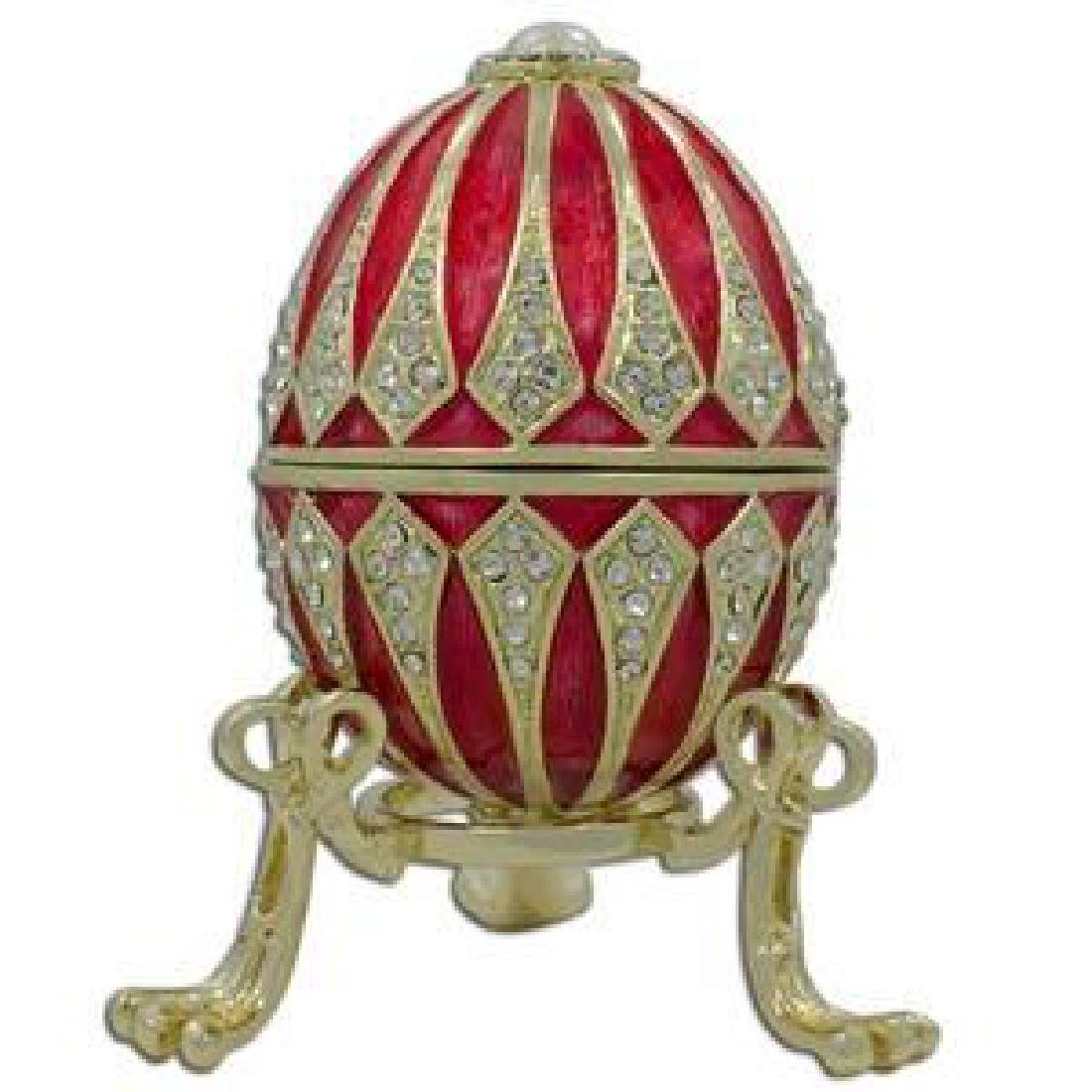 """3.25"""" Red Enamel Jeweled Faberge Inspired Easter Egg"""