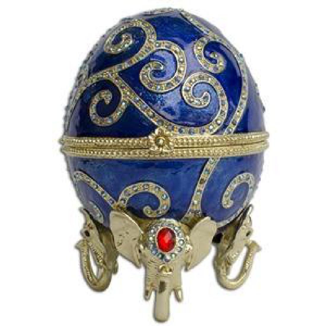 """12"""" Jeweled Oriental Elephant Faberge Inspired Easter"""