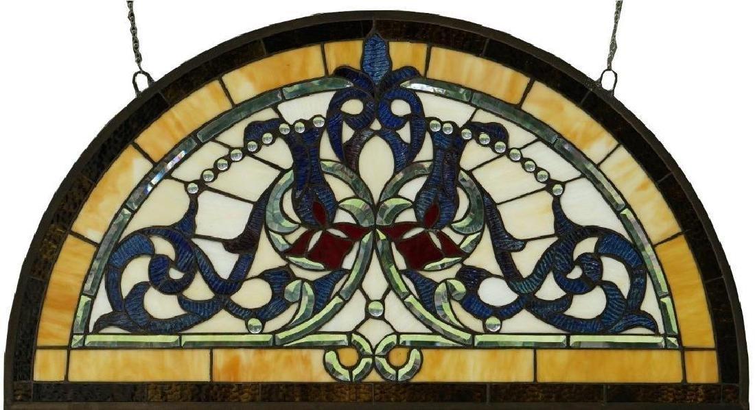 Half Round Tiffany Style Stained Glass Window Beveled