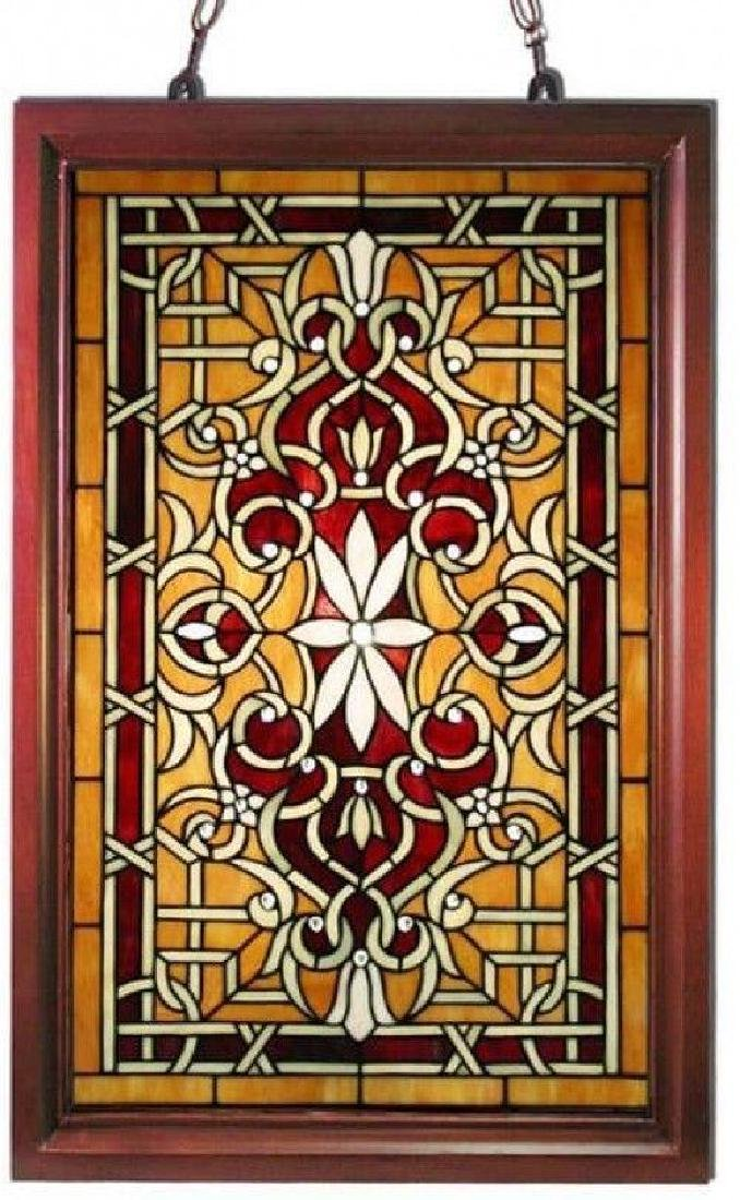 Tiffany-style Window Panel Stained Glass Wooden Frame