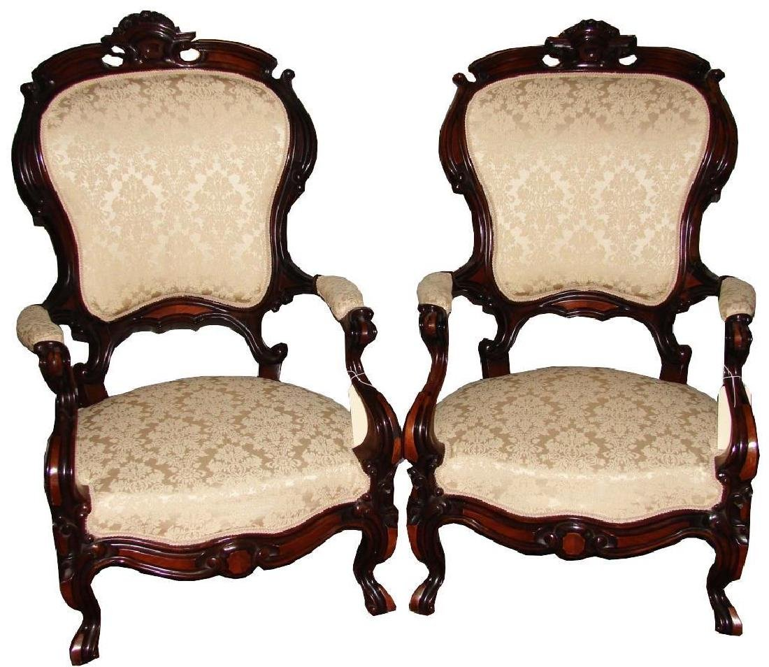 Pair of Mid 19thc American Parlor Armchairs