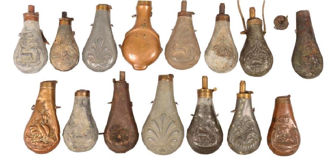 Mid 19thc Powder Flask Collection