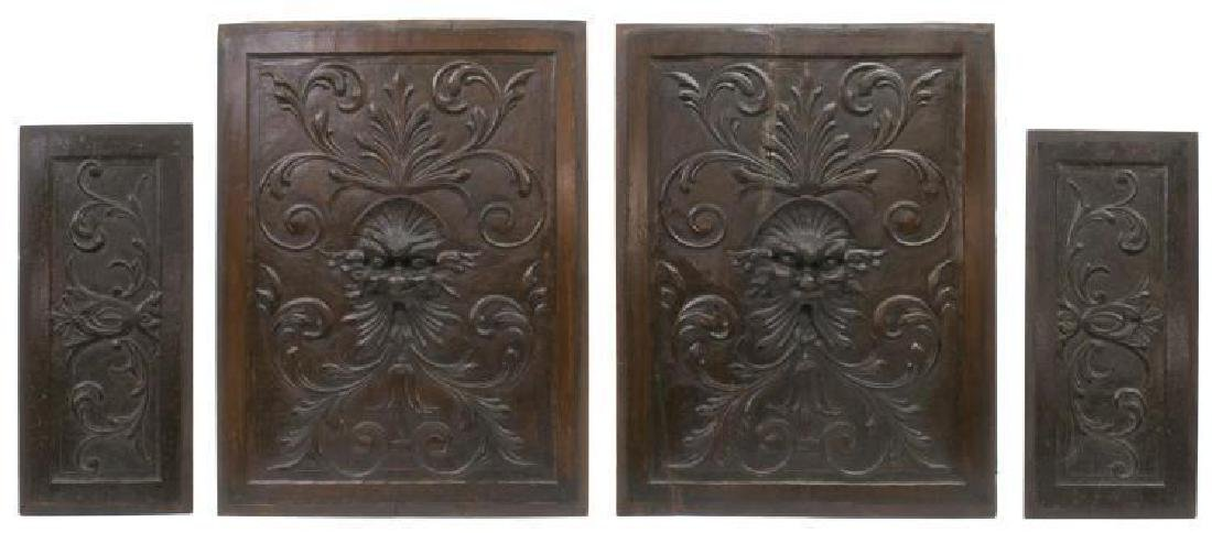 (4) Italian Carved Wood Architectural Panels