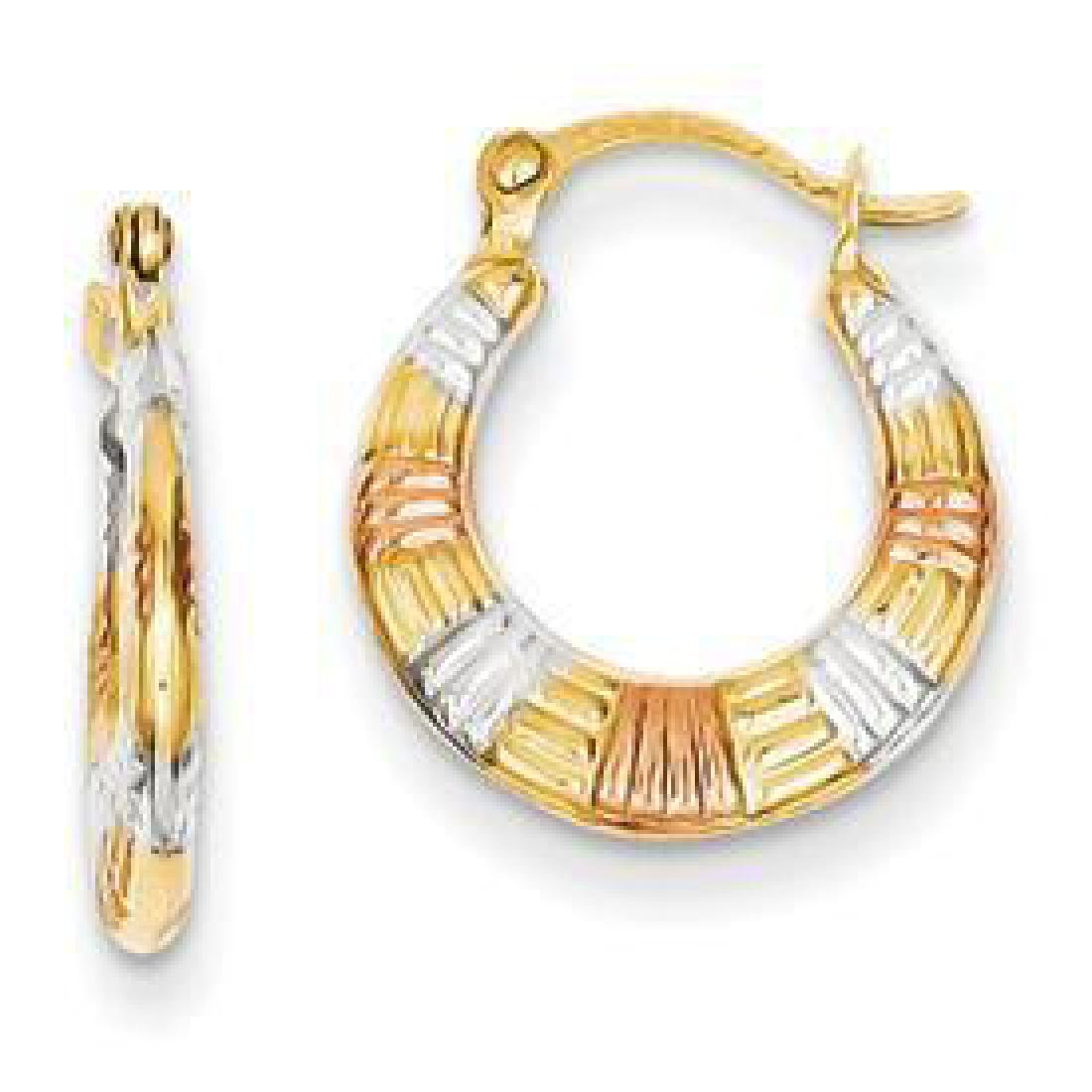 Tri-Color 14K Gold Hoop Earrings