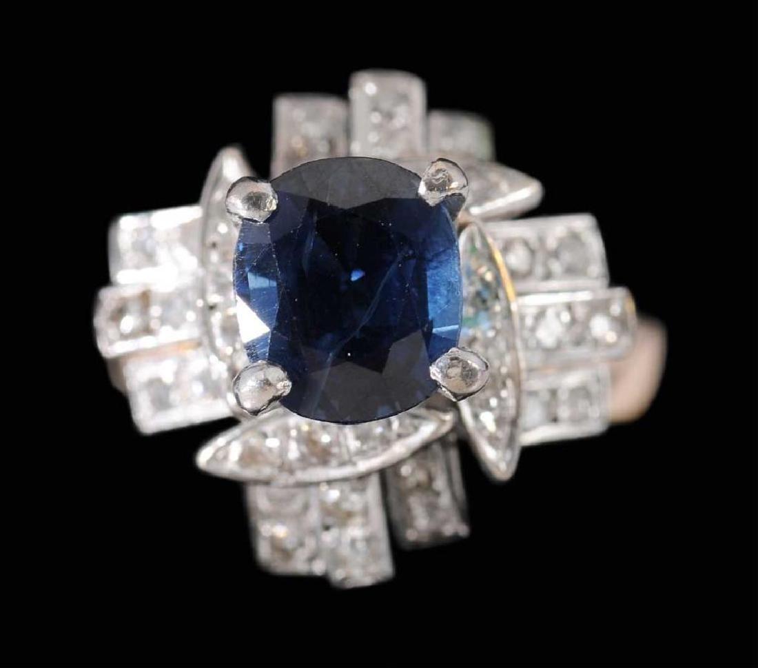 3ct Sapphire & Diamond 18kt Gold Ring