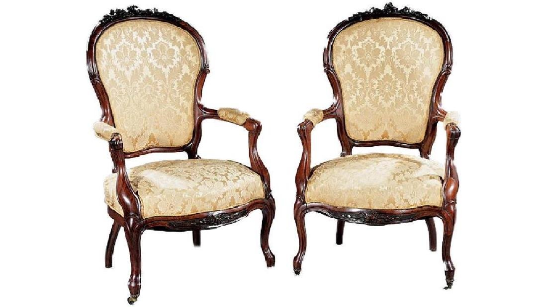Pair of Rococo Revival Carved Rosewood Armchairs