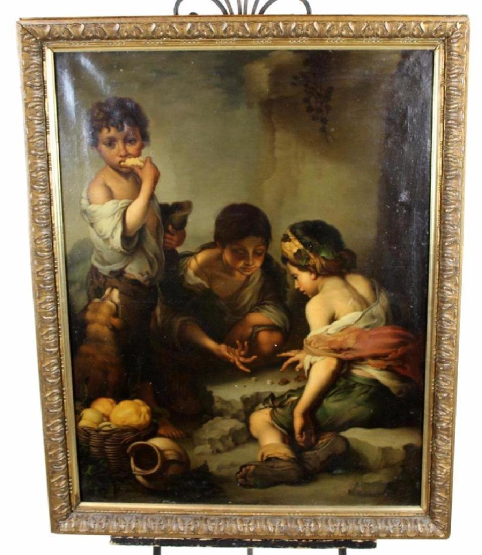 Oil On Canvas After Murillo Boys Playing Dice