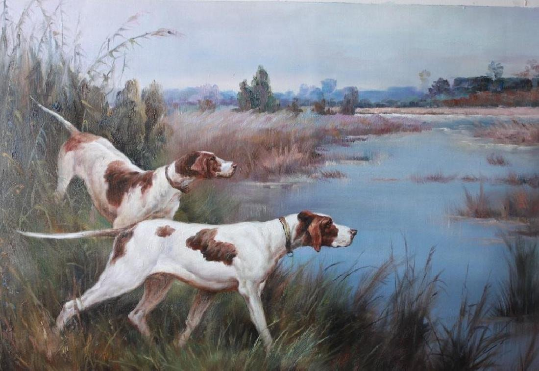 Original Oil on Canvas Hunting Dog Series. signed,