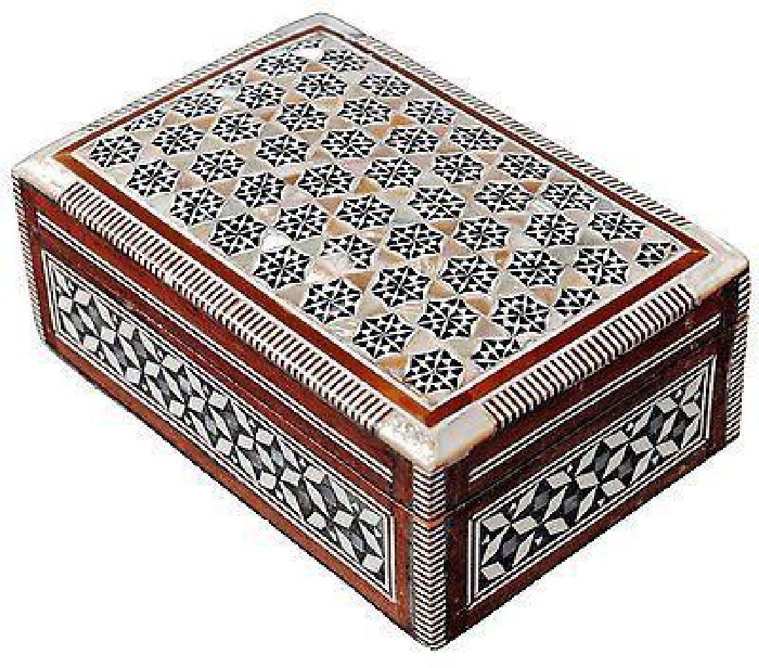 Egyptian Mosaic Jewelry Trinket Box Inlaid Wood Mother