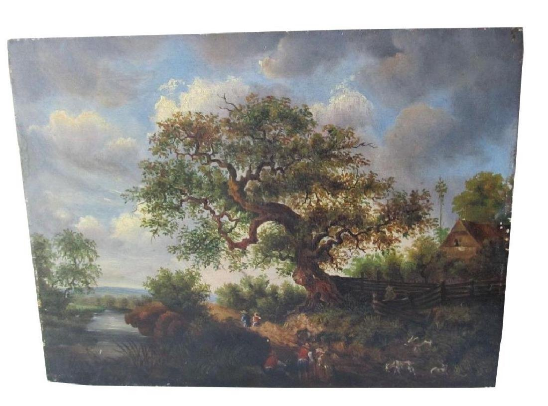 1878 Bucolic Oil Painting On Board Hoffmann