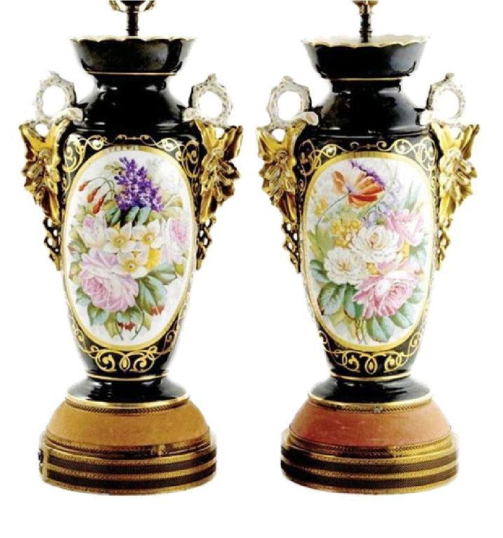 Early 20thc Pair of Paris Porcelain Vases, Lamps