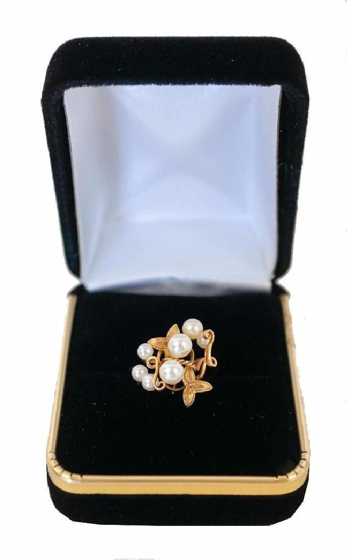 18k Yellow Gold Pearl Cluster Ring