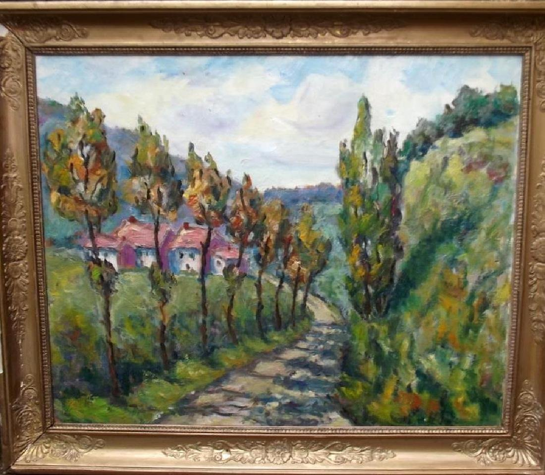 Mid Century Signed French Impressionist Landscape Oil