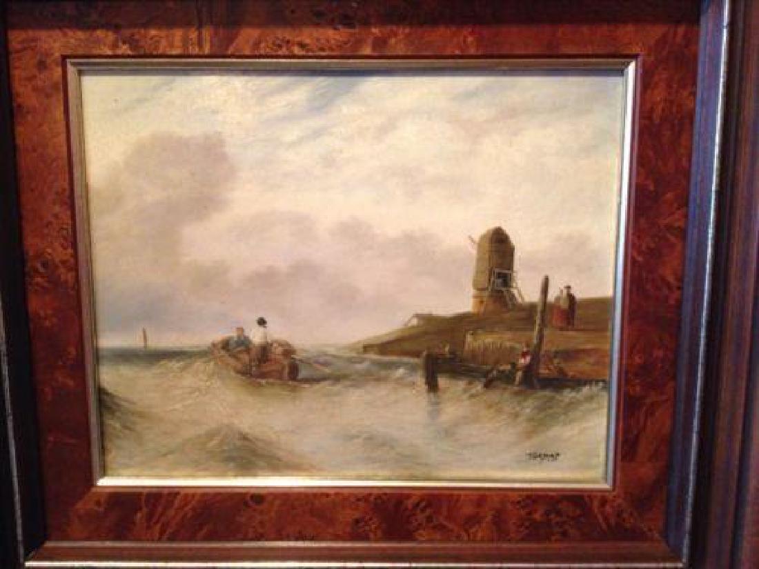 Signed Dutch Coastal Seascape, Oil Painting