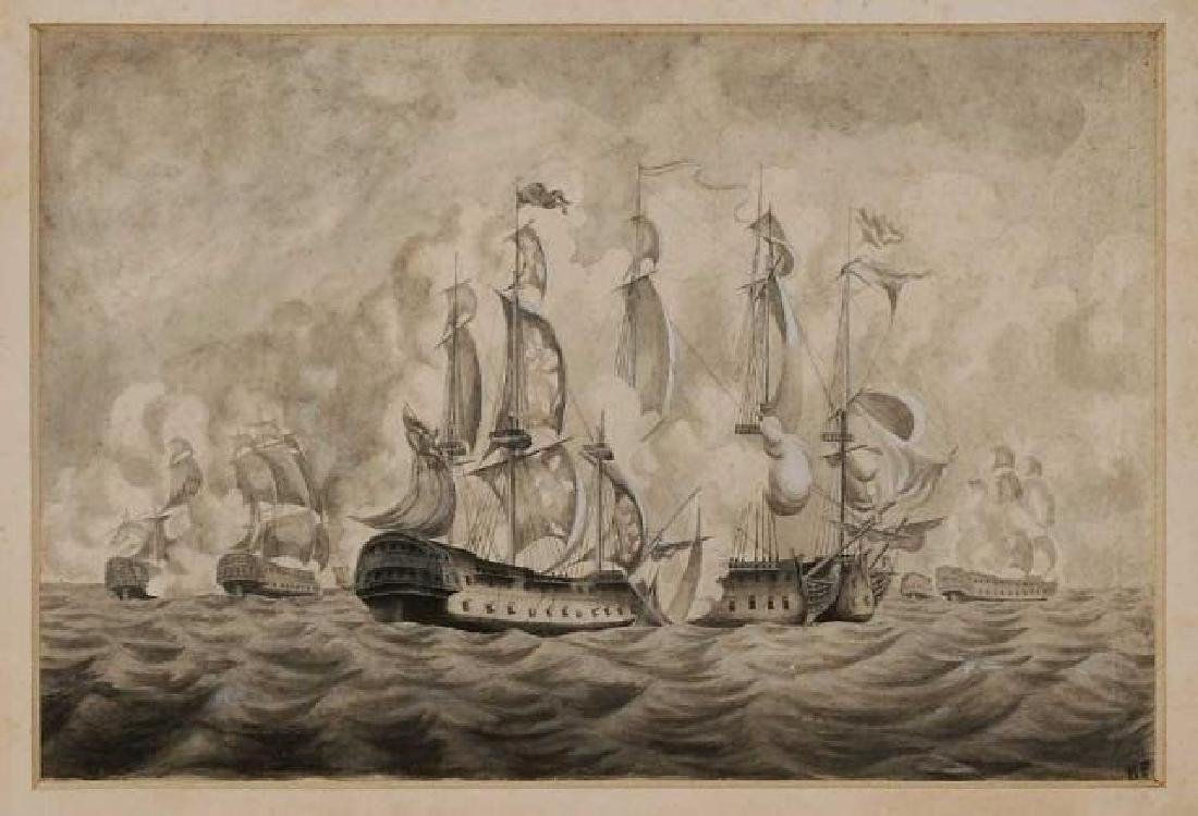 19thc Signed Maritime Watercolor Painting