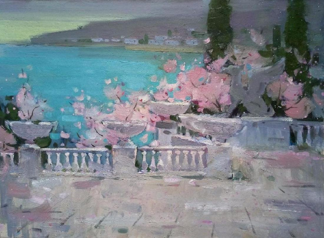 ORIGINAL OIL PAINTING Plein Air Evening Seascape Rosy