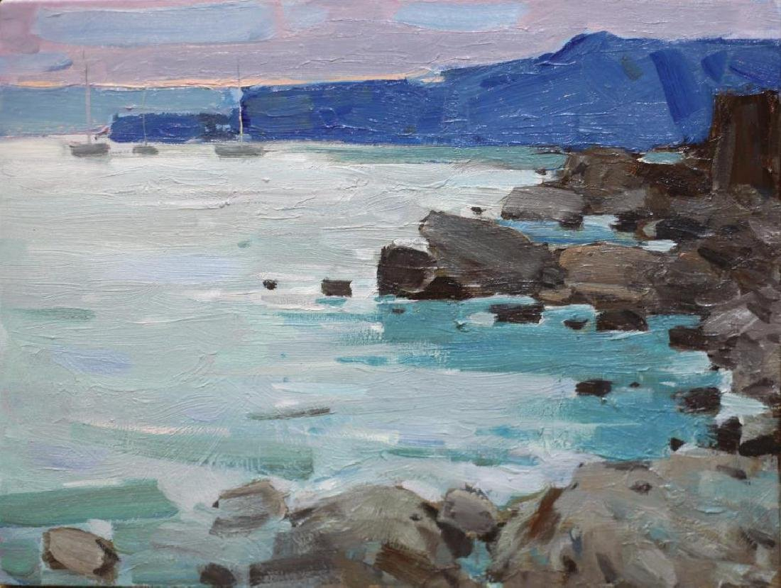 Original Oil Painting Plein Air Evening Seascape Rocky
