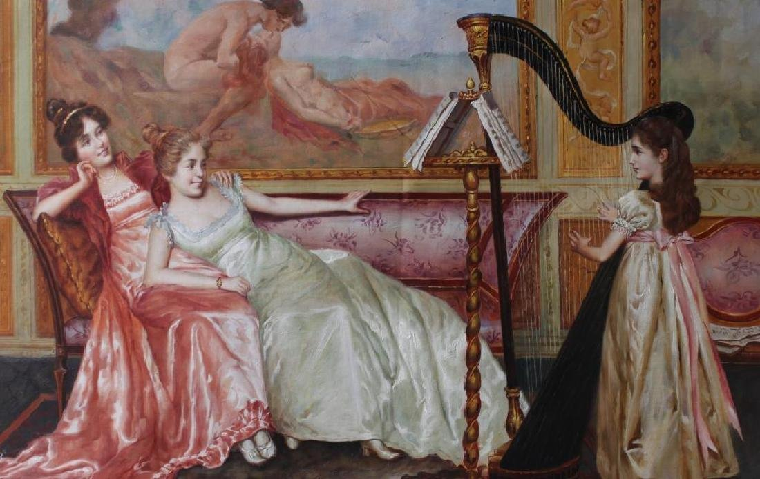 Parlor Scene With Harp Oil Painting