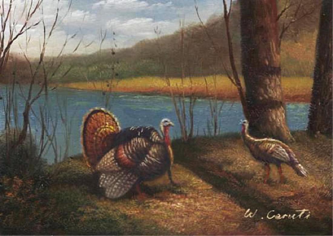 Signed Oil on Board, Wild Turkeys Landscape