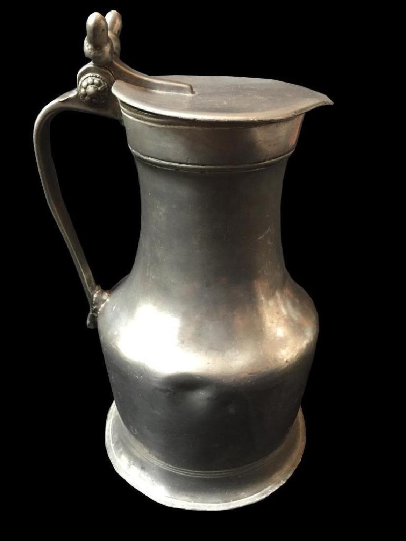 Large18thc Pewter Acorn Finial Lidded Tankard