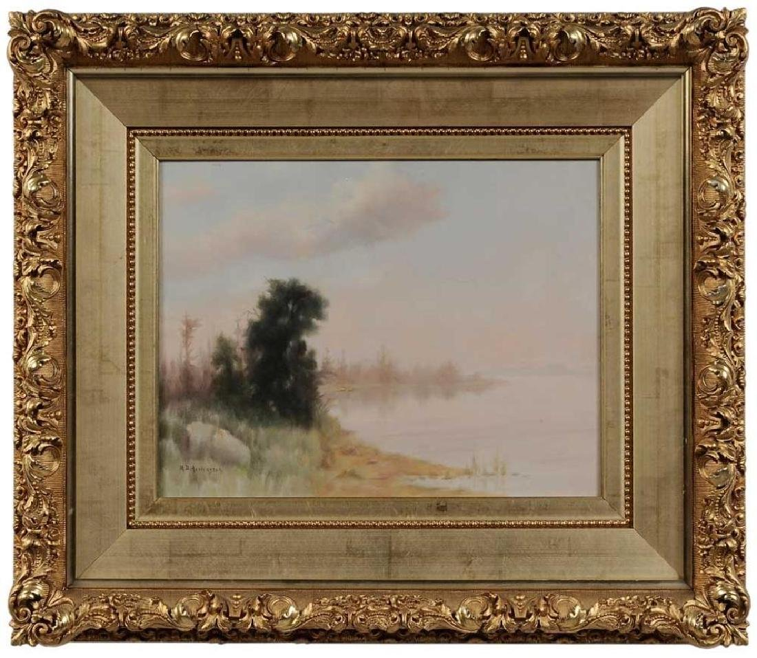 19thc Signed, Fisher's Bay Landscape Painting