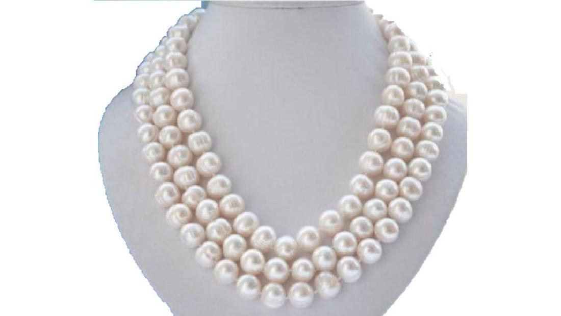 "Natural 50"" Aaa 10-11m South Sea Natural White Pearl"