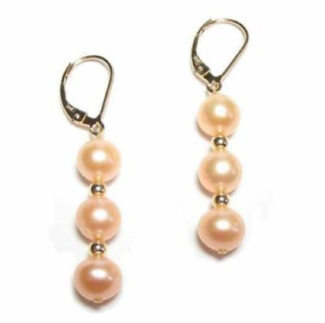 14k Gold Pair Of Aaa + South Sea Pink Pearl Earring