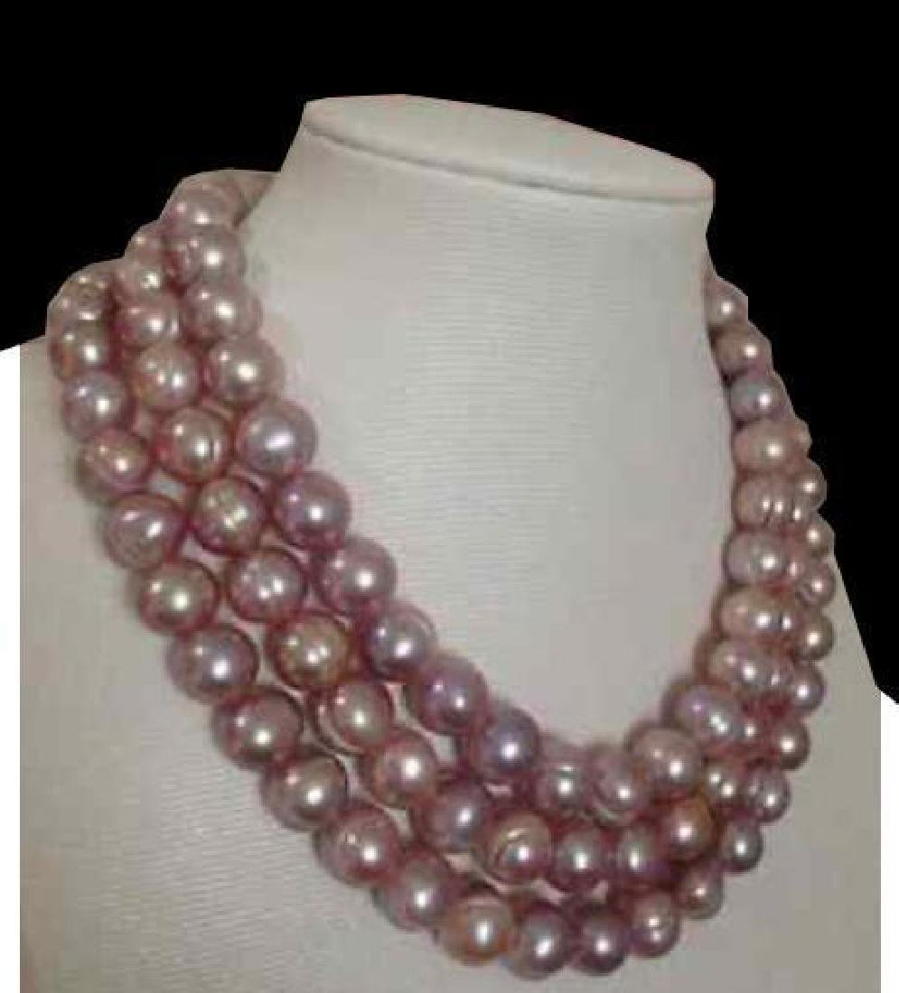 8-9mm South Sea Pink Lavender Baroque Pearl Necklace 48