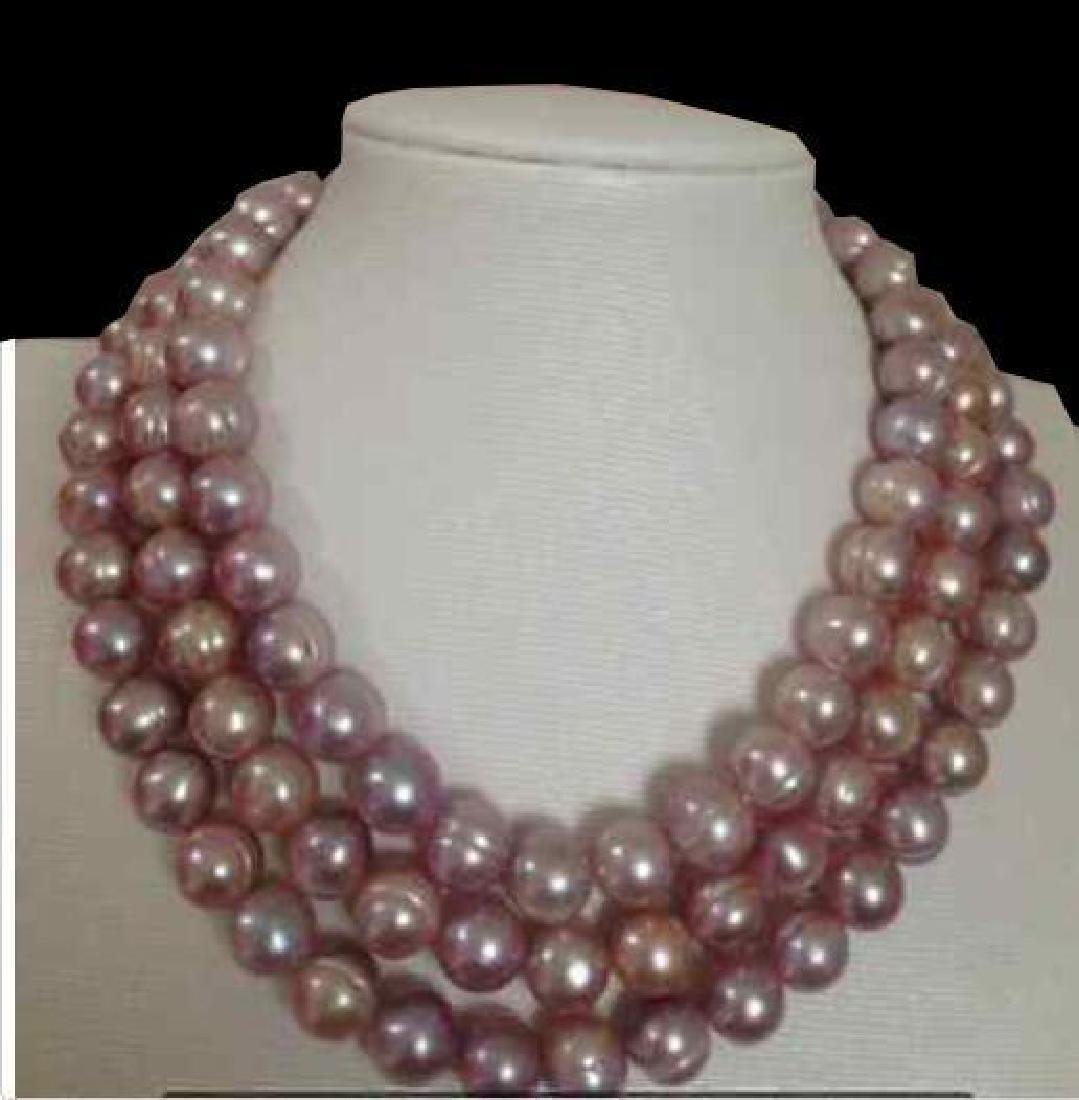 8-9mm South Sea Pink Lavender Baroque Pearl Necklace 48 - 2